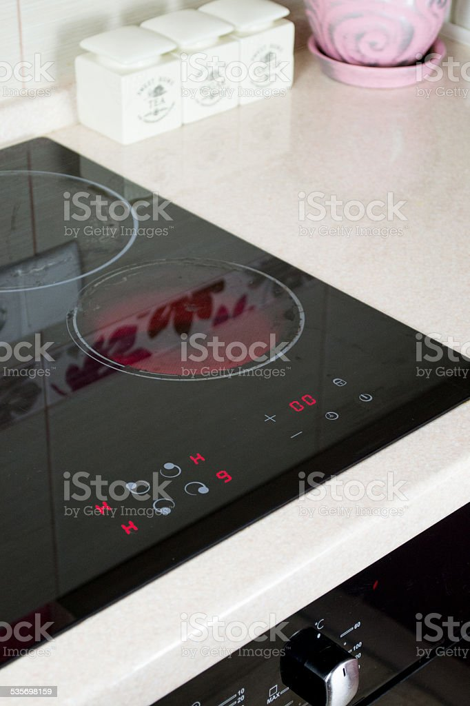 Kitchen, cooking surface, electric stove stock photo