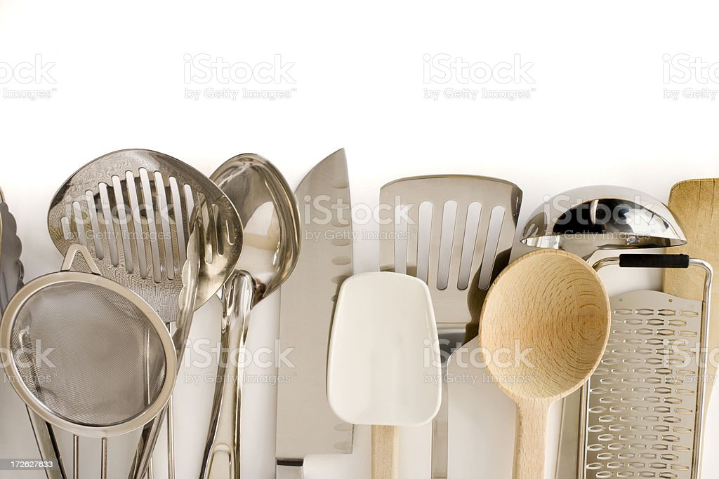 Kitchen Cooking Utensils Border with Wooden Spoon, Knife, Spatula, Equipment stock photo