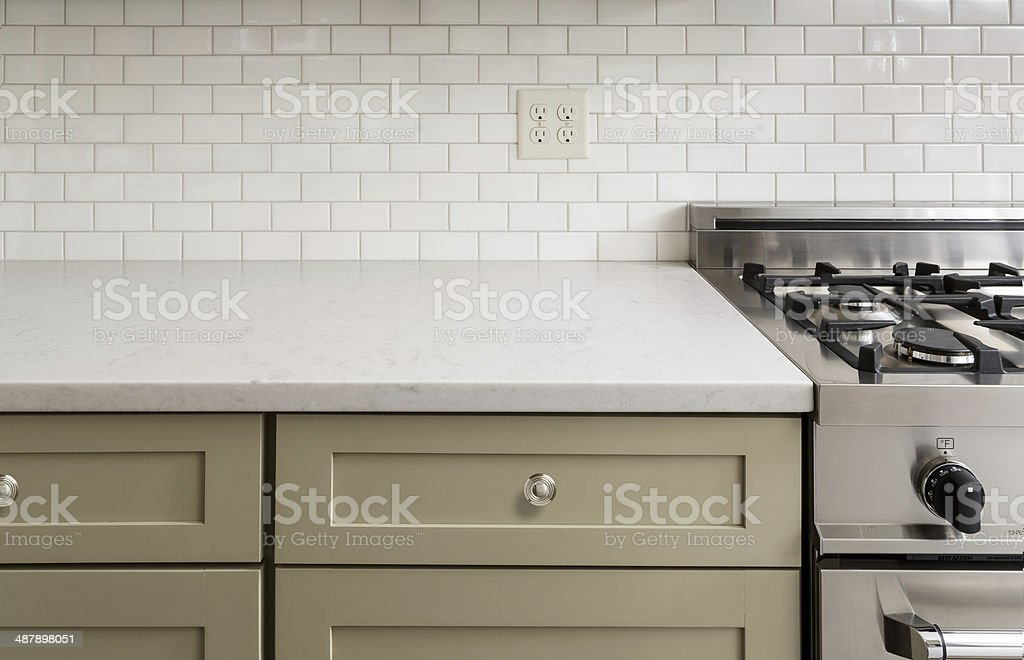 Kitchen Counter with Subway Tile, Stainless Steel oven stock photo