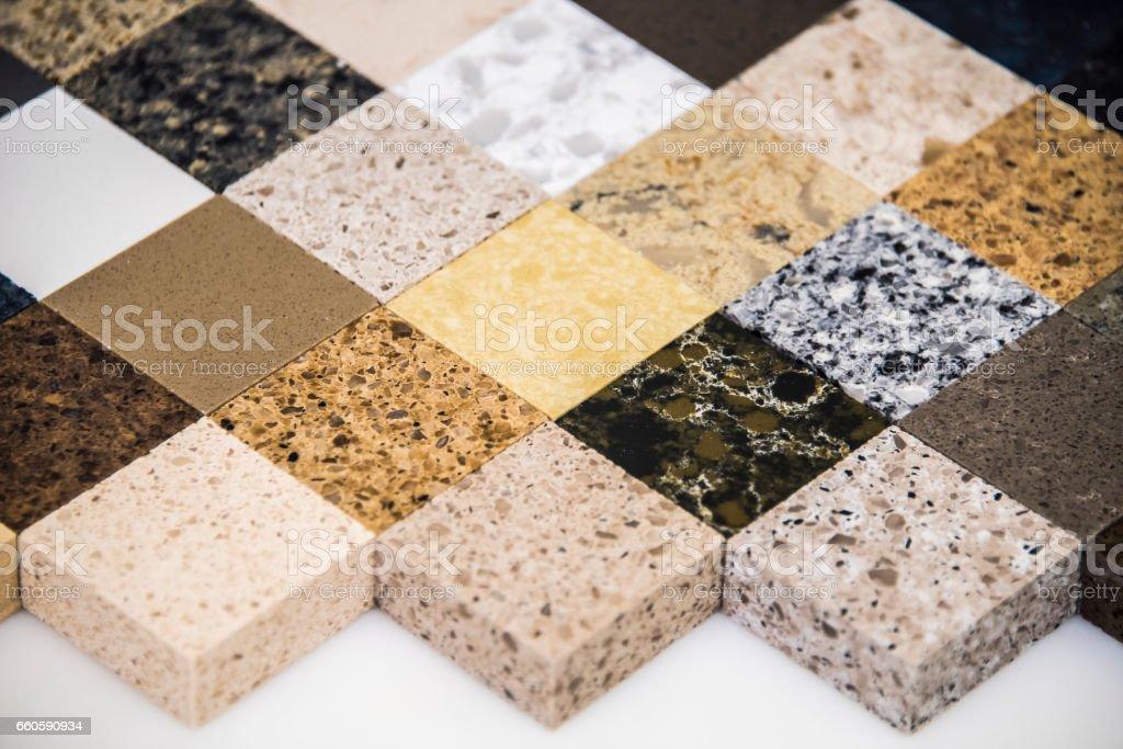 Kitchen countertop samples stock photo