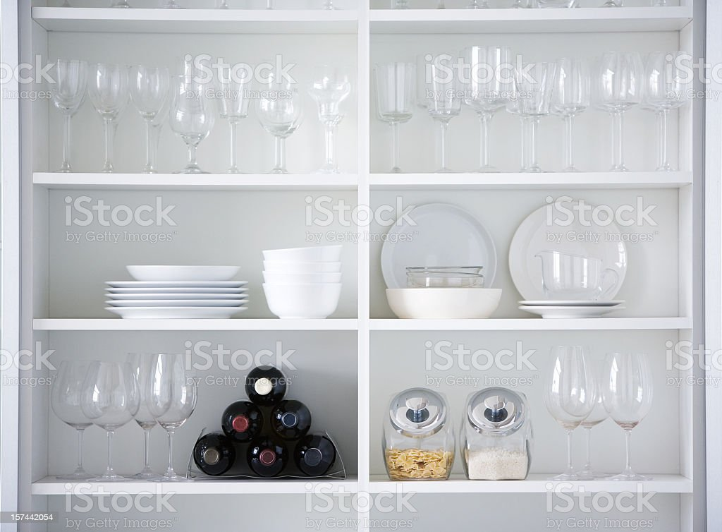Kitchen cupboard, interior design in white color stock photo