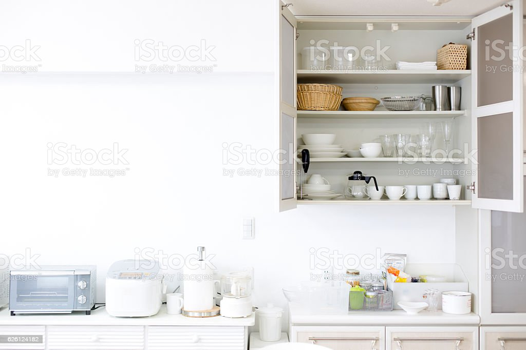 Kitchen cupboards stock photo
