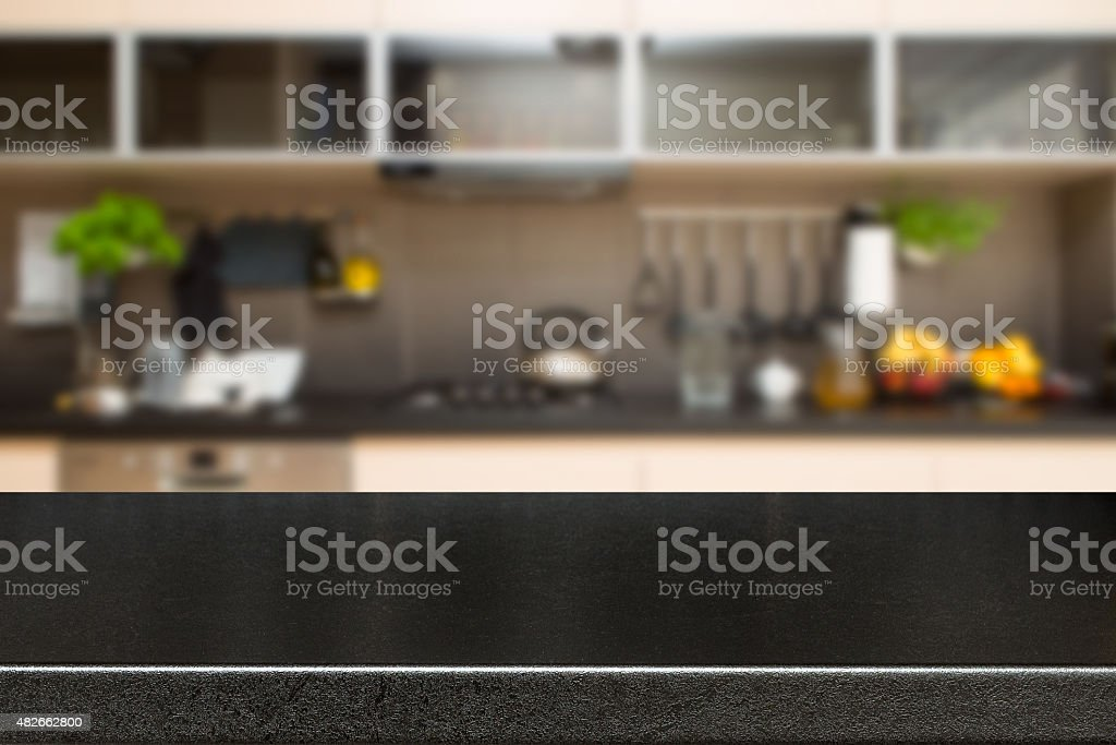 Kitchen decoration and desk space. stock photo