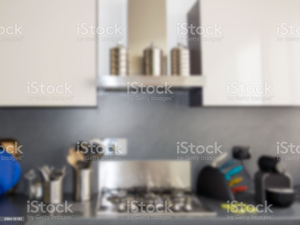 Kitchen decoration and desk space stock photo