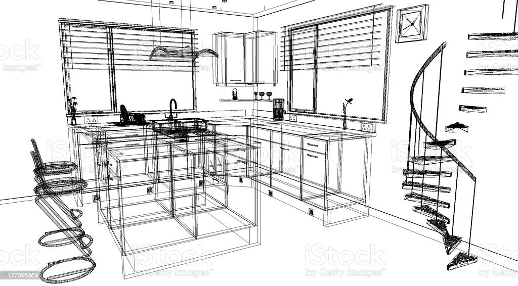 3d Kitchen Design Using A Cad Software Program Royalty Free Stock Photo