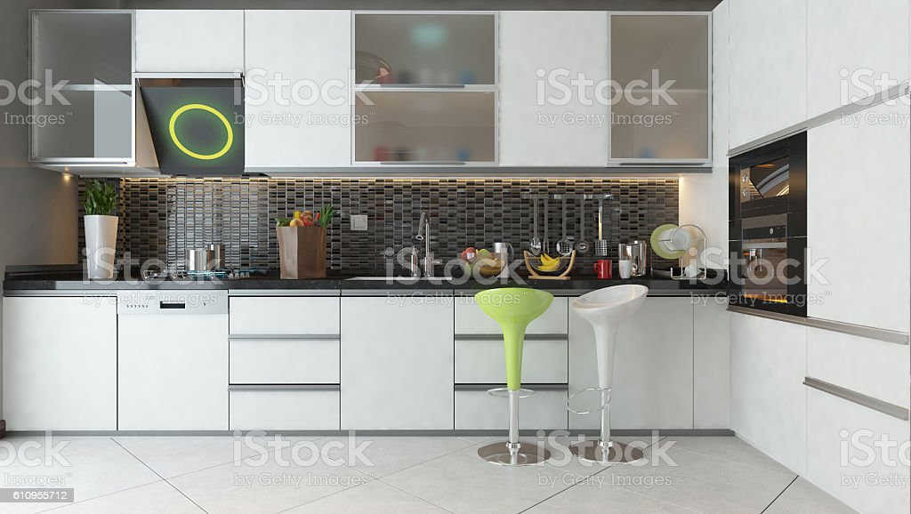 kitchen design with white color wooden furniture stock photo