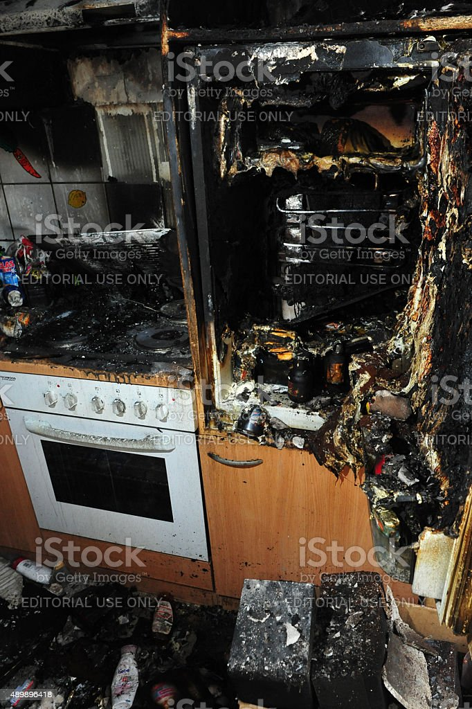 Kitchen destroyed by fire stock photo