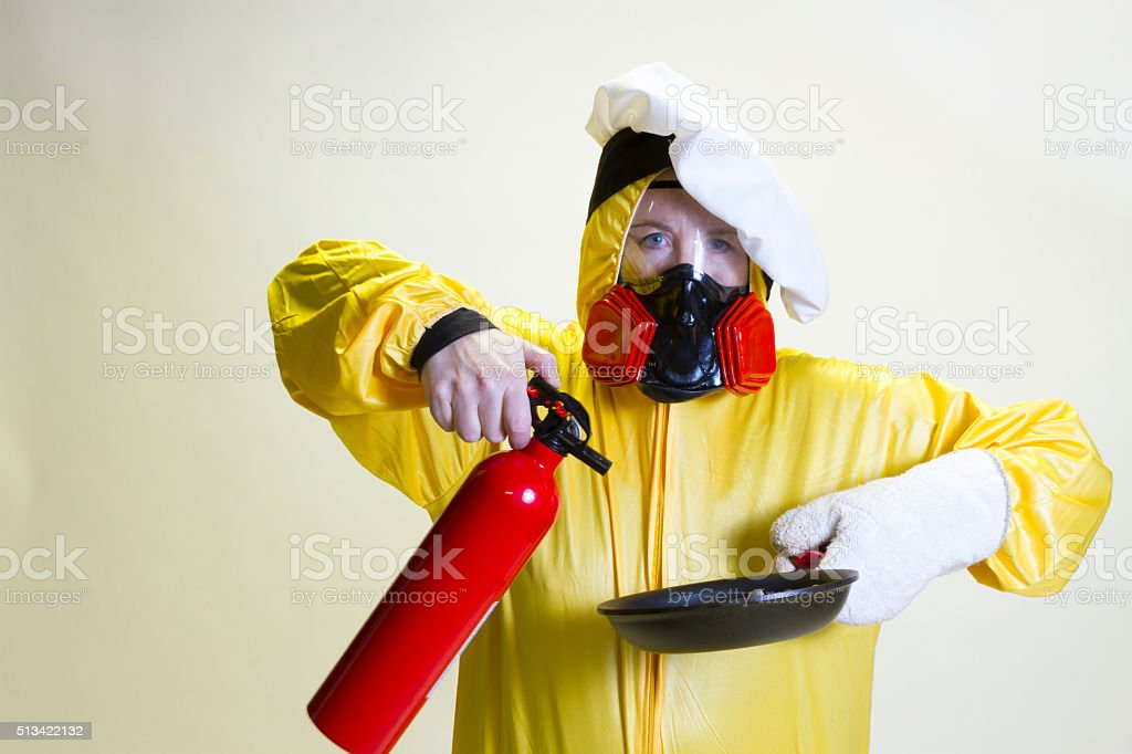 küche katastrophe hazmat passende und feuerlöscher stockfoto ... - Feuerlöscher Für Küche