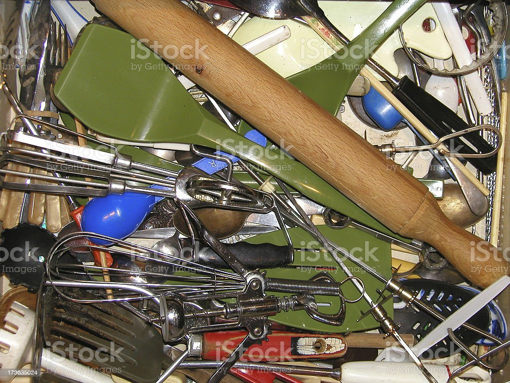 Kitchen drawer contents stock photo