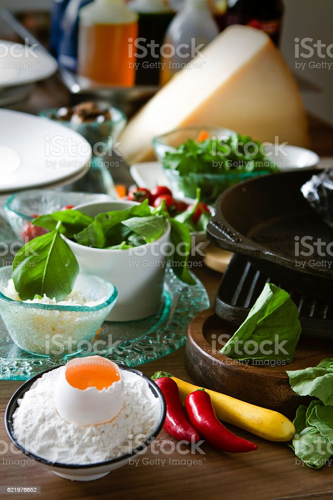 kitchen during cooking stock photo