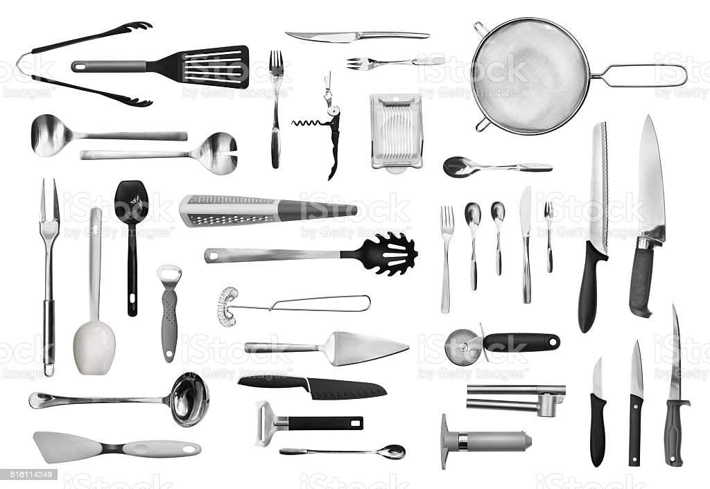 Kitchen equipment and cutlery set stock photo