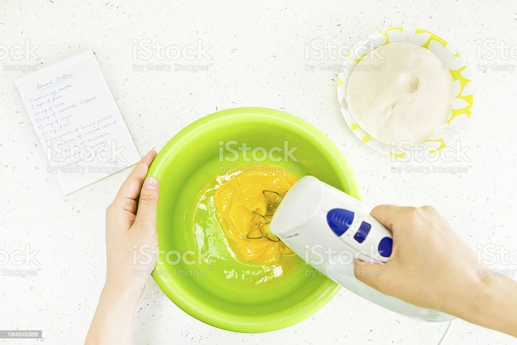 Kitchen equipment and food ingredients with a recipe stock photo