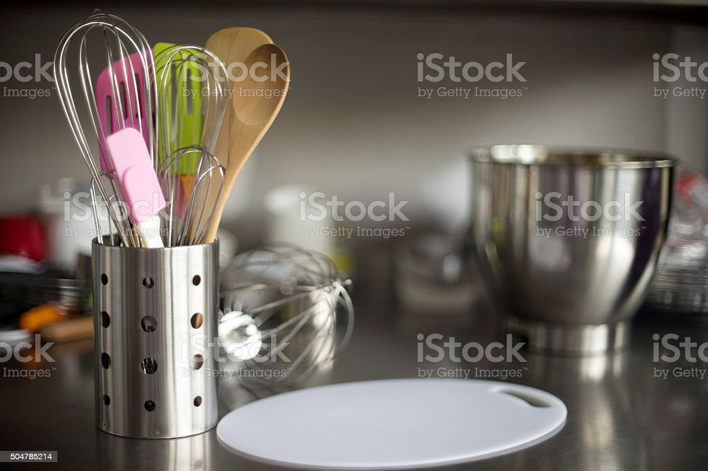 kitchen equipment set on table stock photo