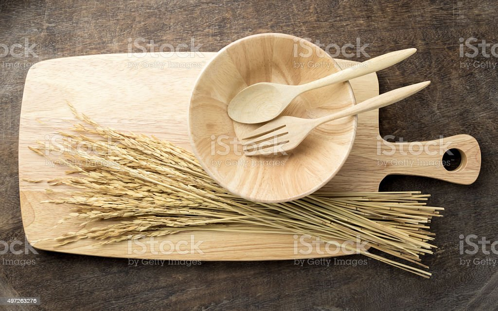 Kitchen equipment : Spoon and Fork , Bowl , Wooden cutting boards stock photo