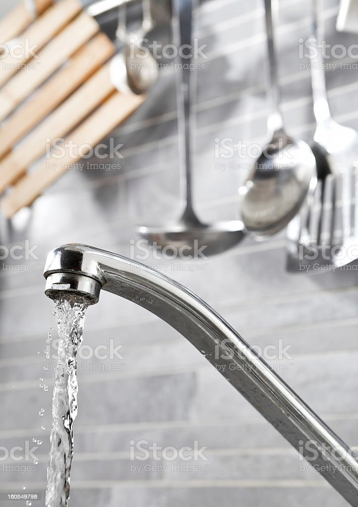Kitchen faucet water royalty-free stock photo