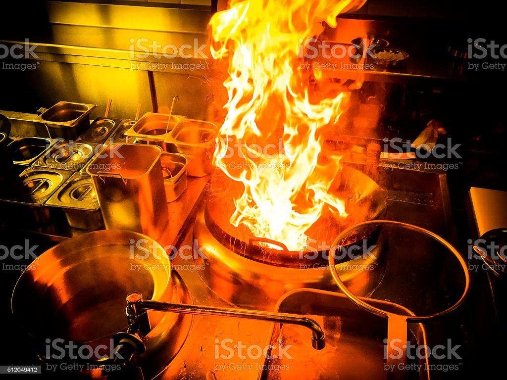 Kitchen Flambé stock photo
