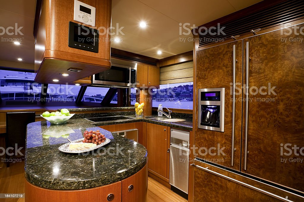 kitchen galley yacht royalty-free stock photo