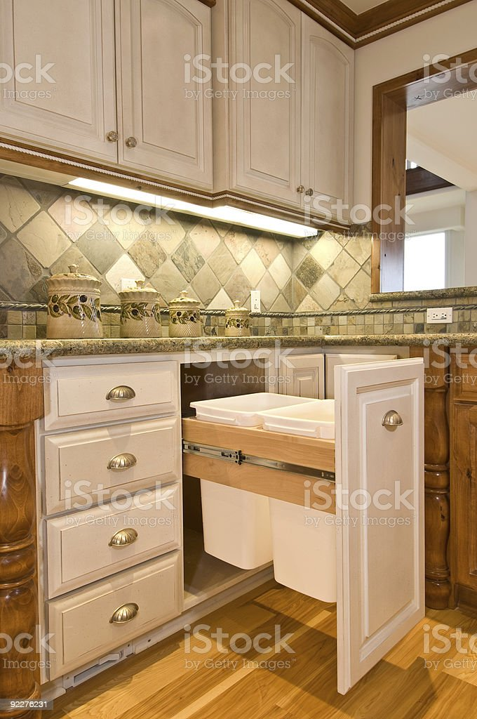 kitchen garbage cans stock photo