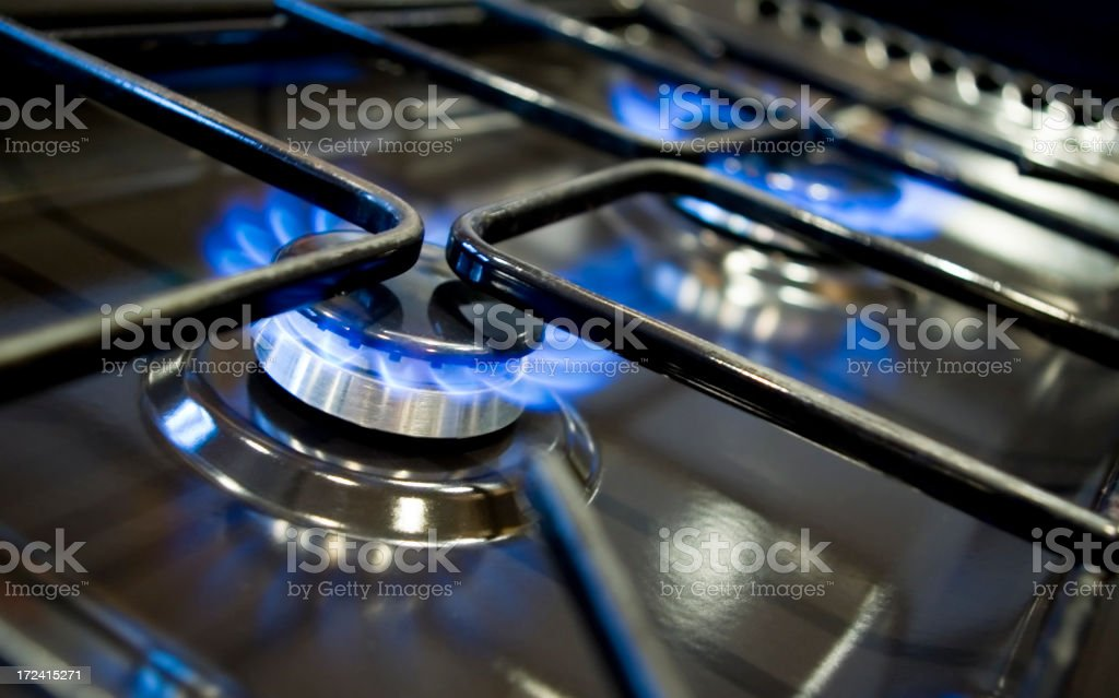 Kitchen gas cooker hob royalty-free stock photo