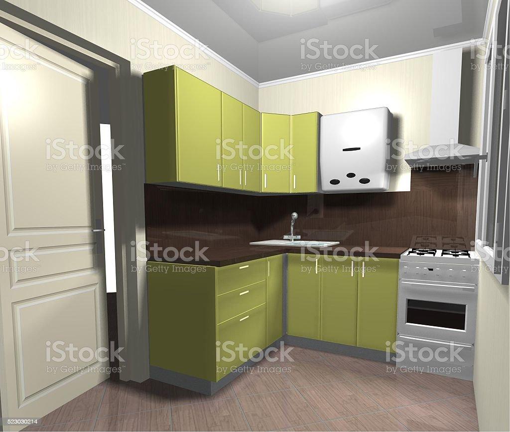 kitchen green small interior 3D render stock photo