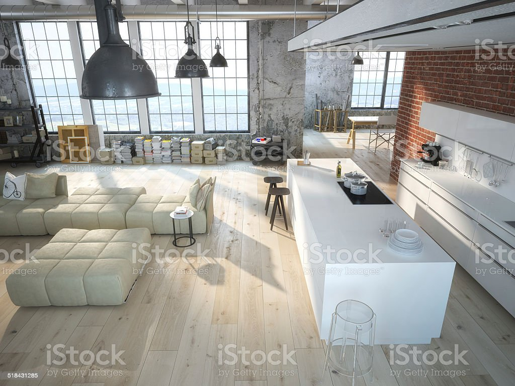 kitchen in a loft stock photo
