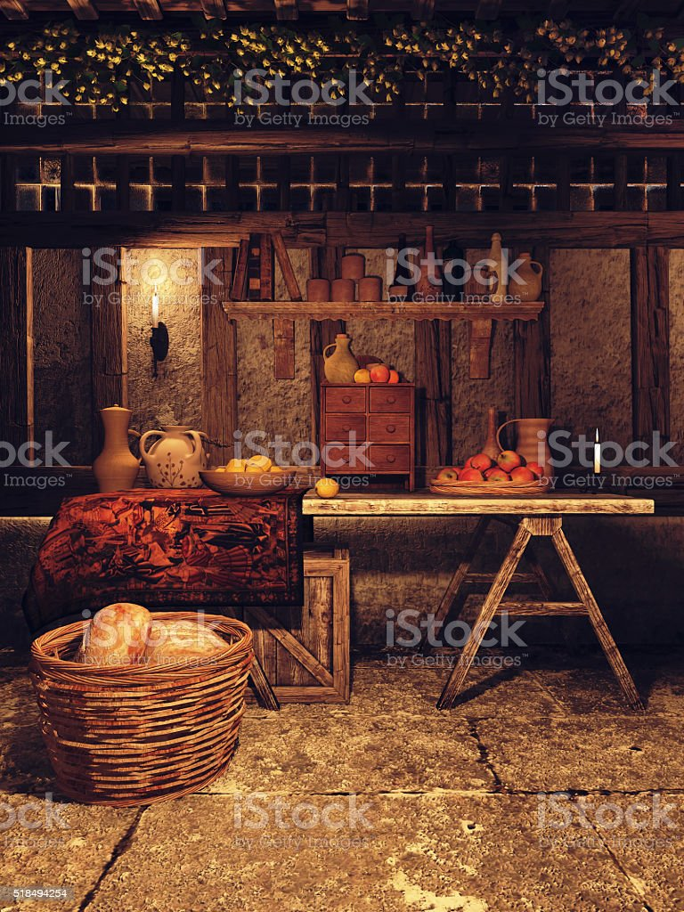Kitchen in a medieval house stock photo