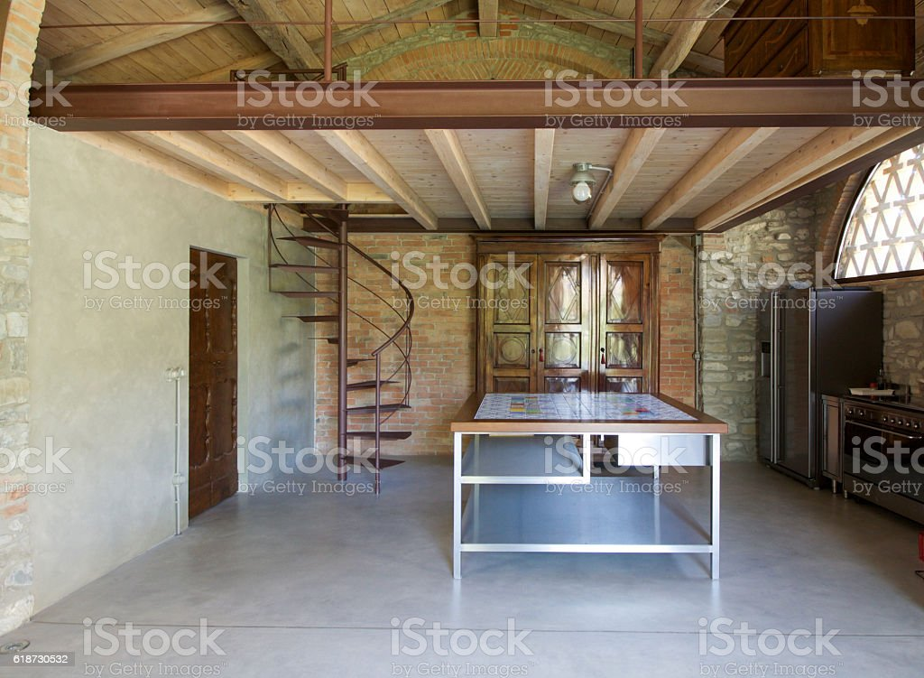 kitchen in a rustic loft stock photo