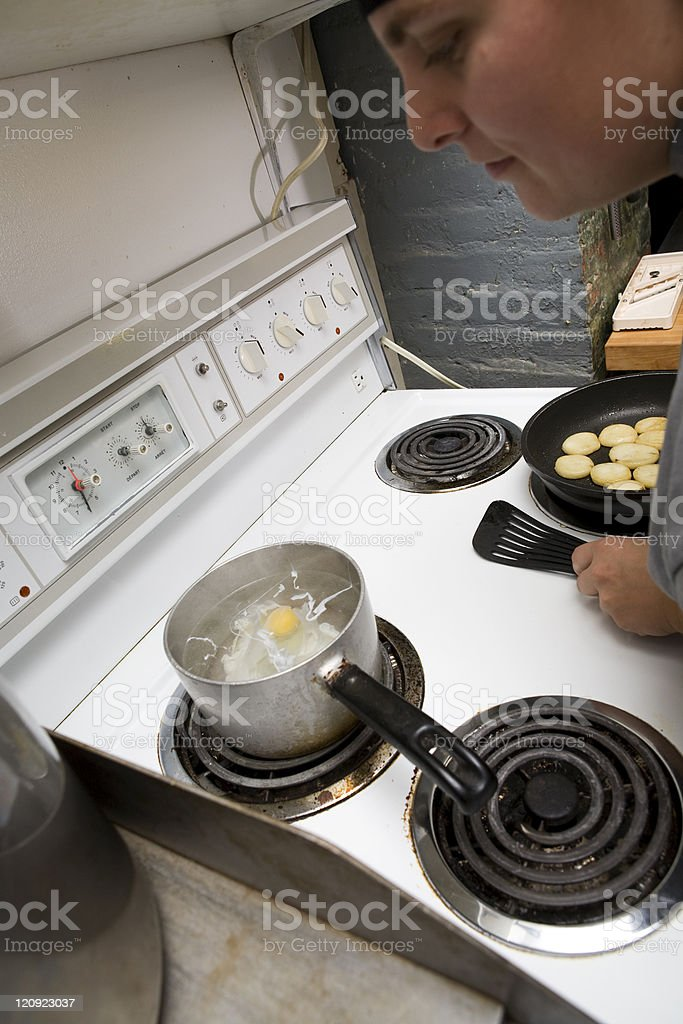 Kitchen in action stock photo