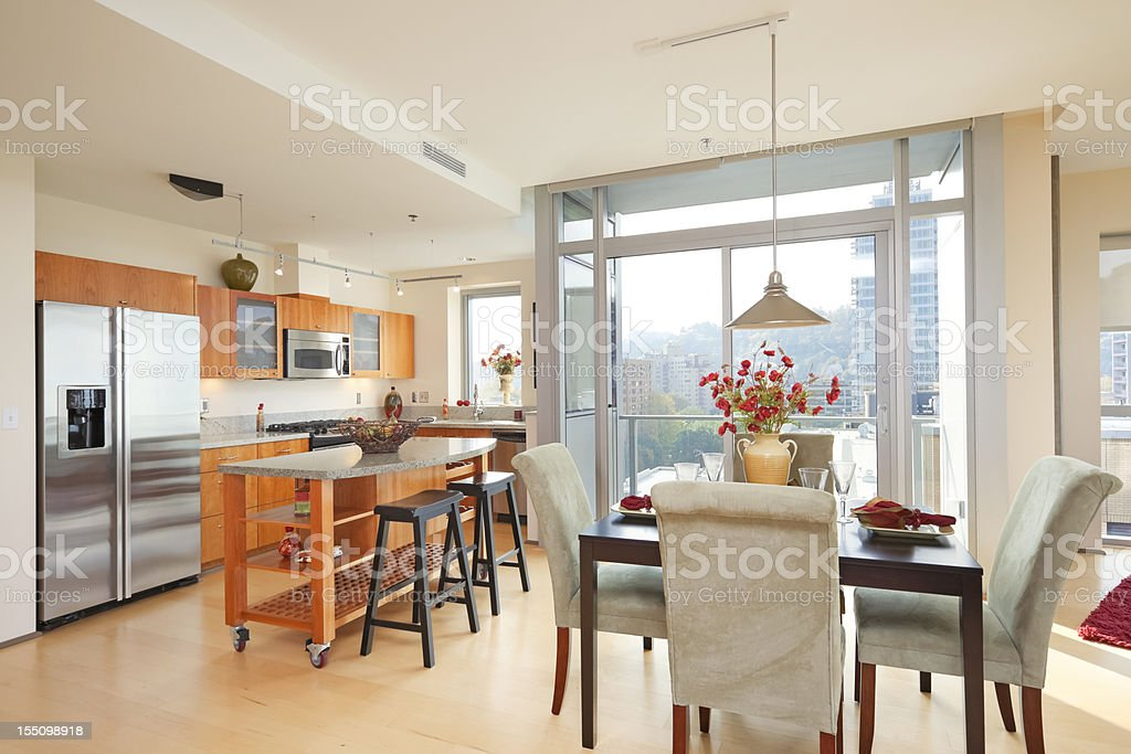 Kitchen in High rise Condominium stock photo