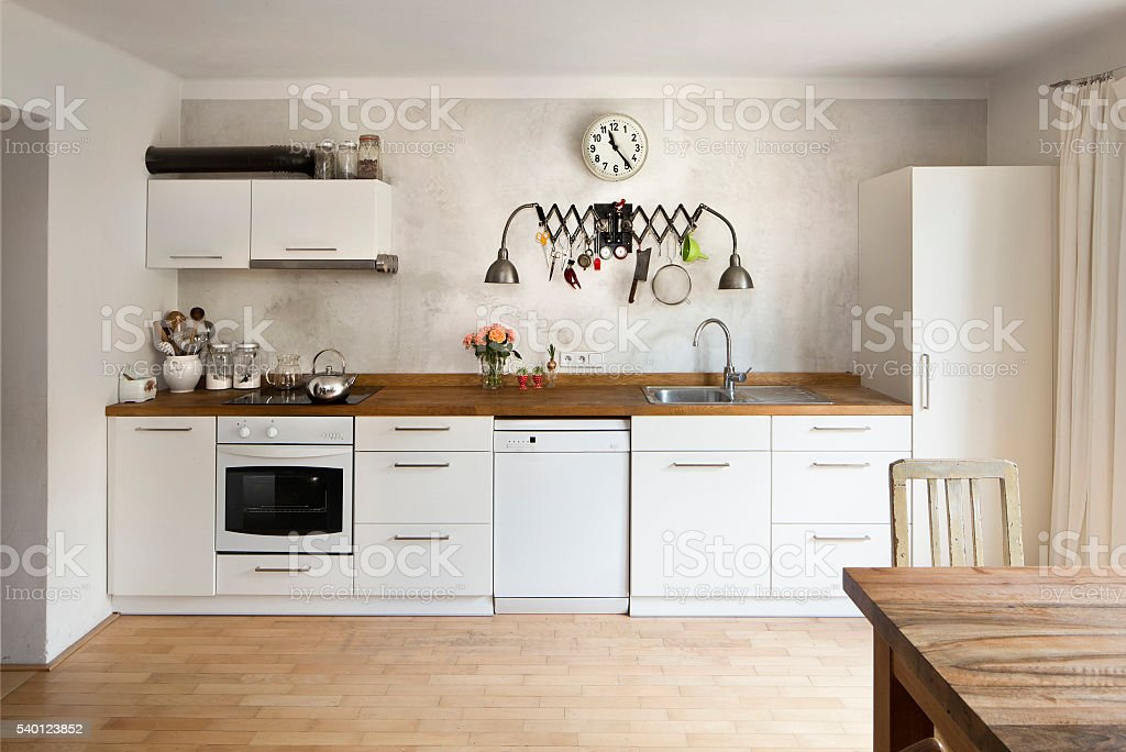kitchen in industrial style stock photo