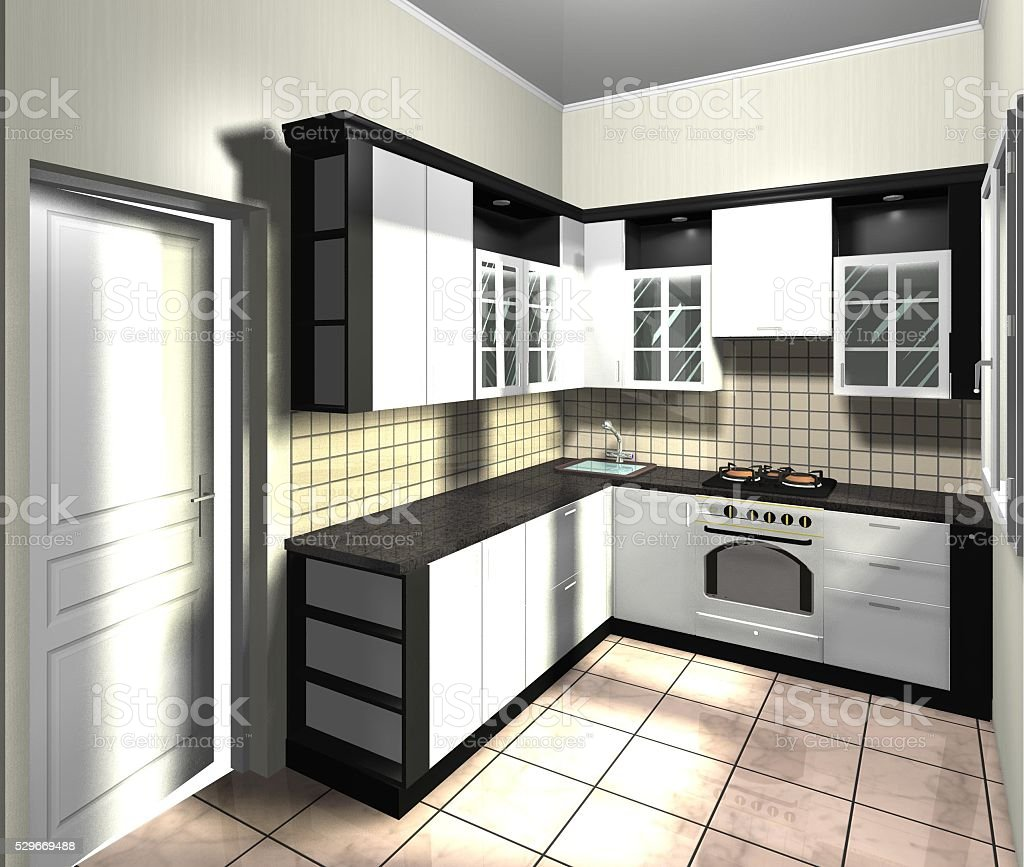 kitchen in neoclassical style white and black color 3D render stock photo