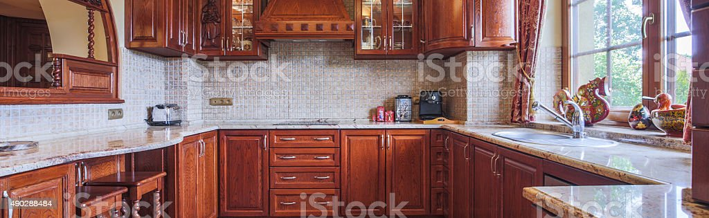 Kitchen in traditional style stock photo