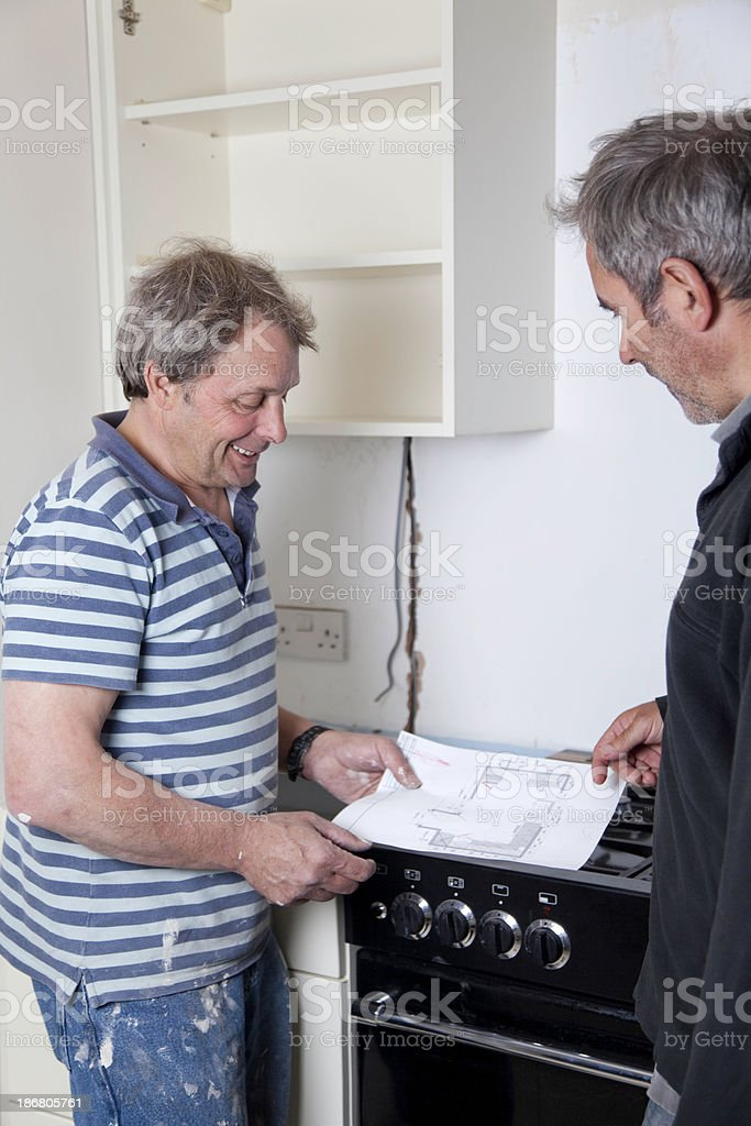 Kitchen Installation: Worker and client royalty-free stock photo