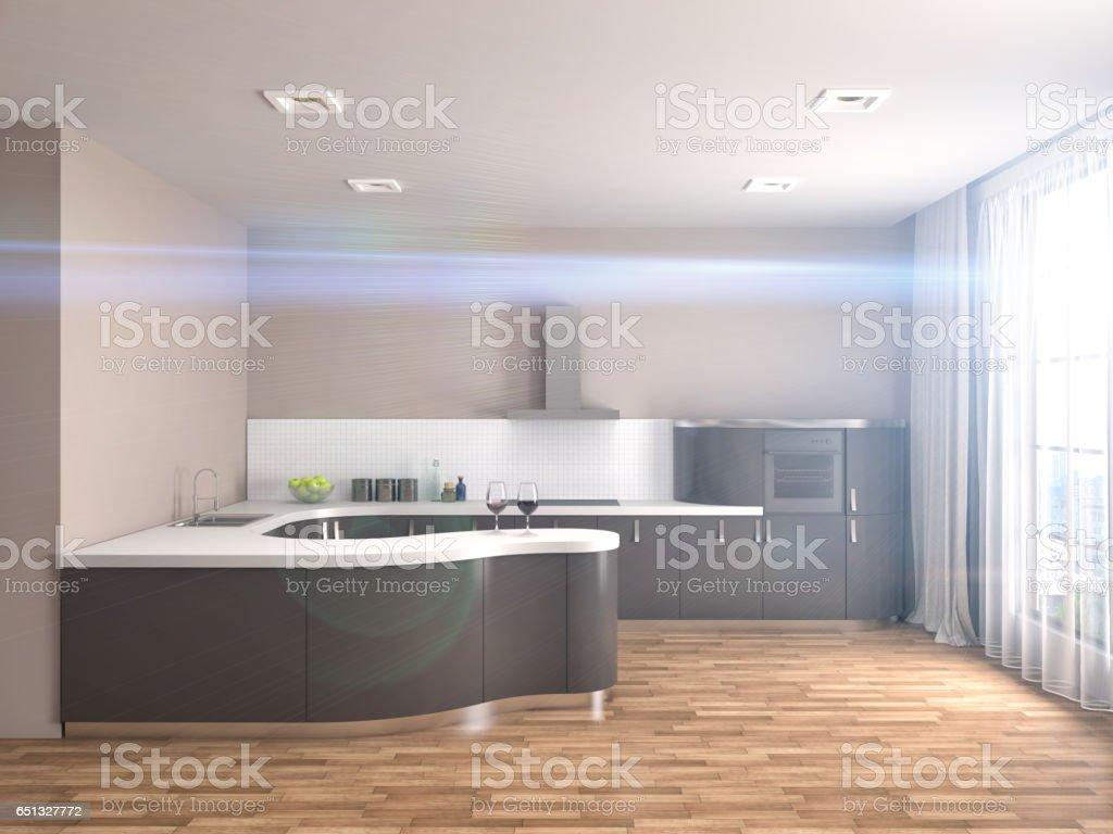 Kitchen interior. 3d illustration stock photo