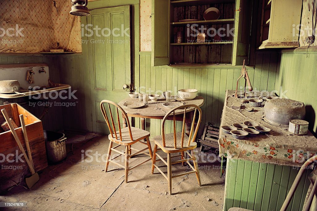 Kitchen Interior Of Abandoned Minning Shack In Bodie California royalty-free stock photo