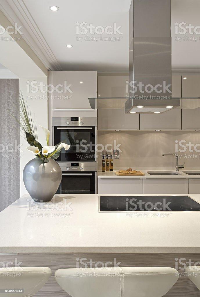 kitchen island and breakfast bar stock photo