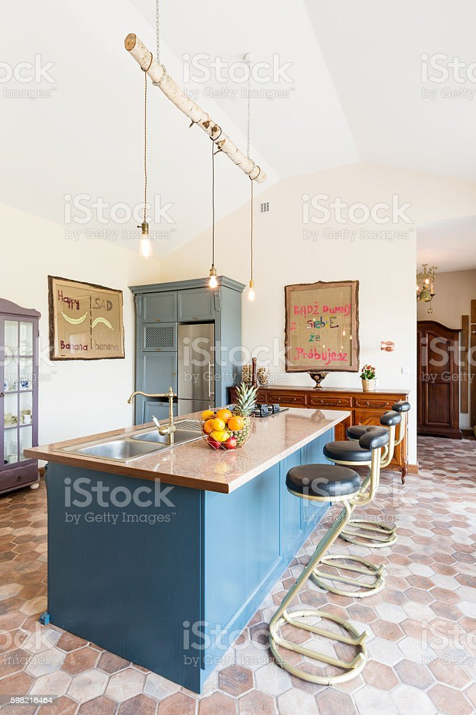 Kitchen island in the middle of vintage sea stock photo