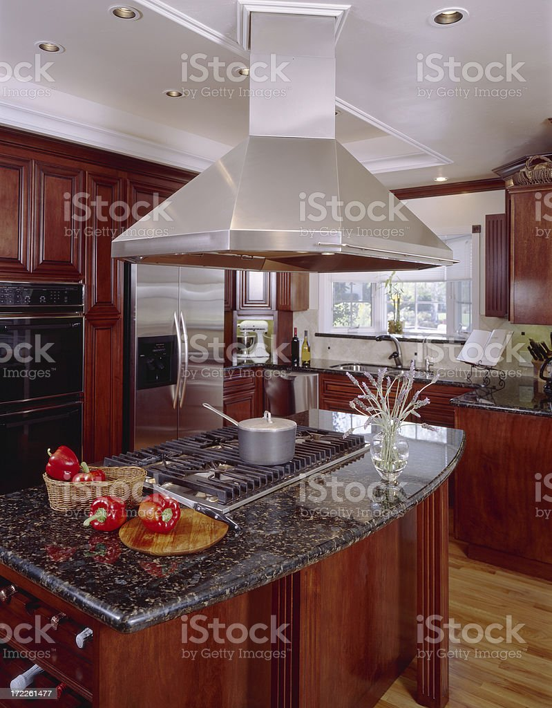 Kitchen Island with Large Exhaust Hood royalty-free stock photo
