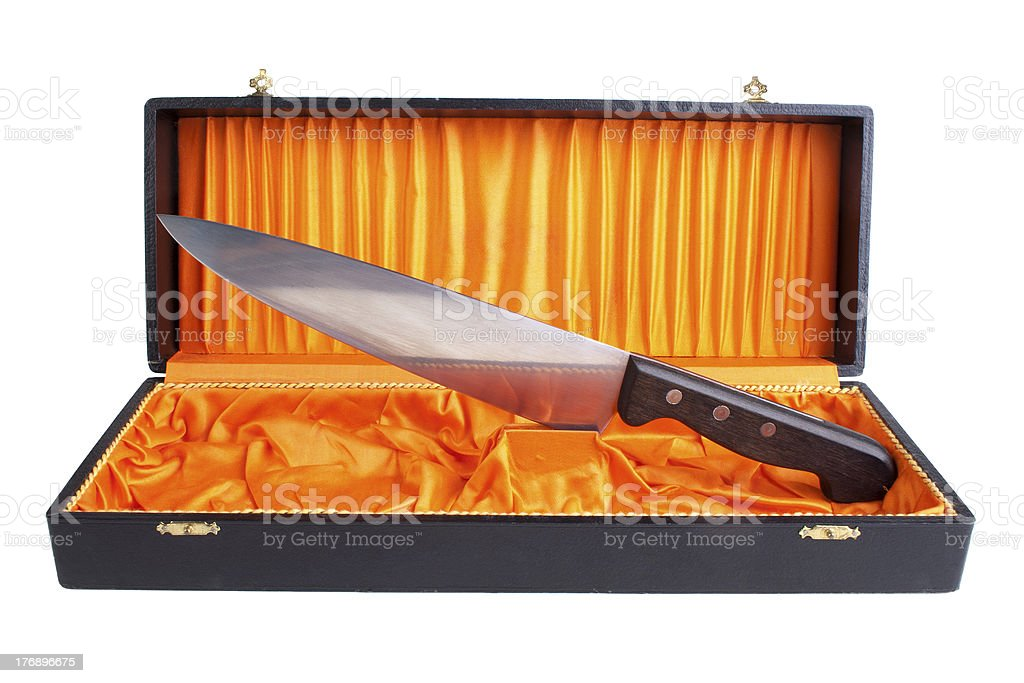 Kitchen knife in the open box royalty-free stock photo