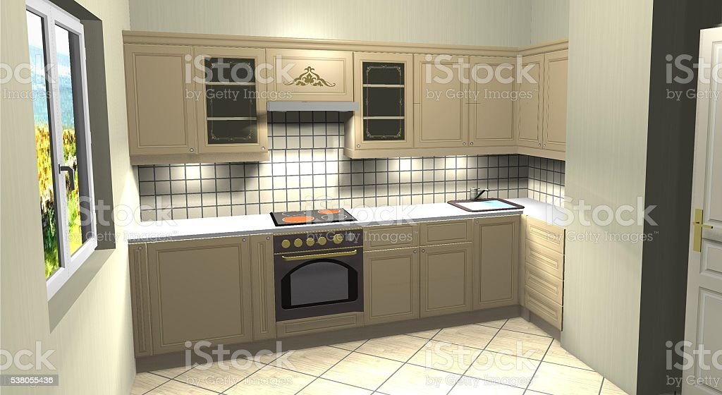 kitchen modern classic beige 3D rendering stock photo