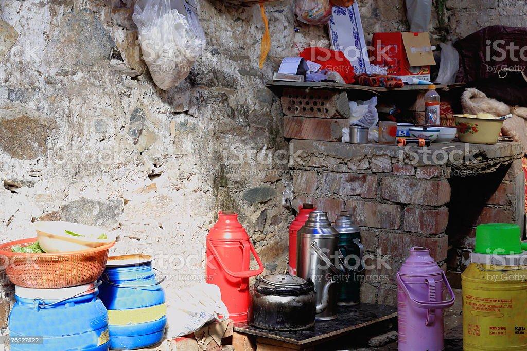 Kitchen of a hut upway to Drak Yerpa monastery-Tibet. 1482 stock photo