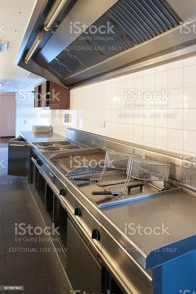 Kitchen of a staff restaurant in an office building stock photo