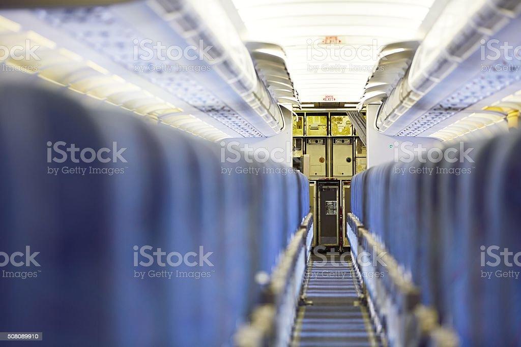 Kitchen of the airplane stock photo