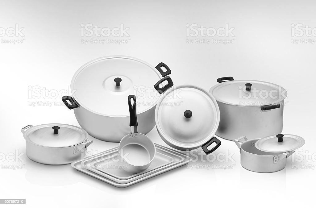kitchen pan on a light background stock photo