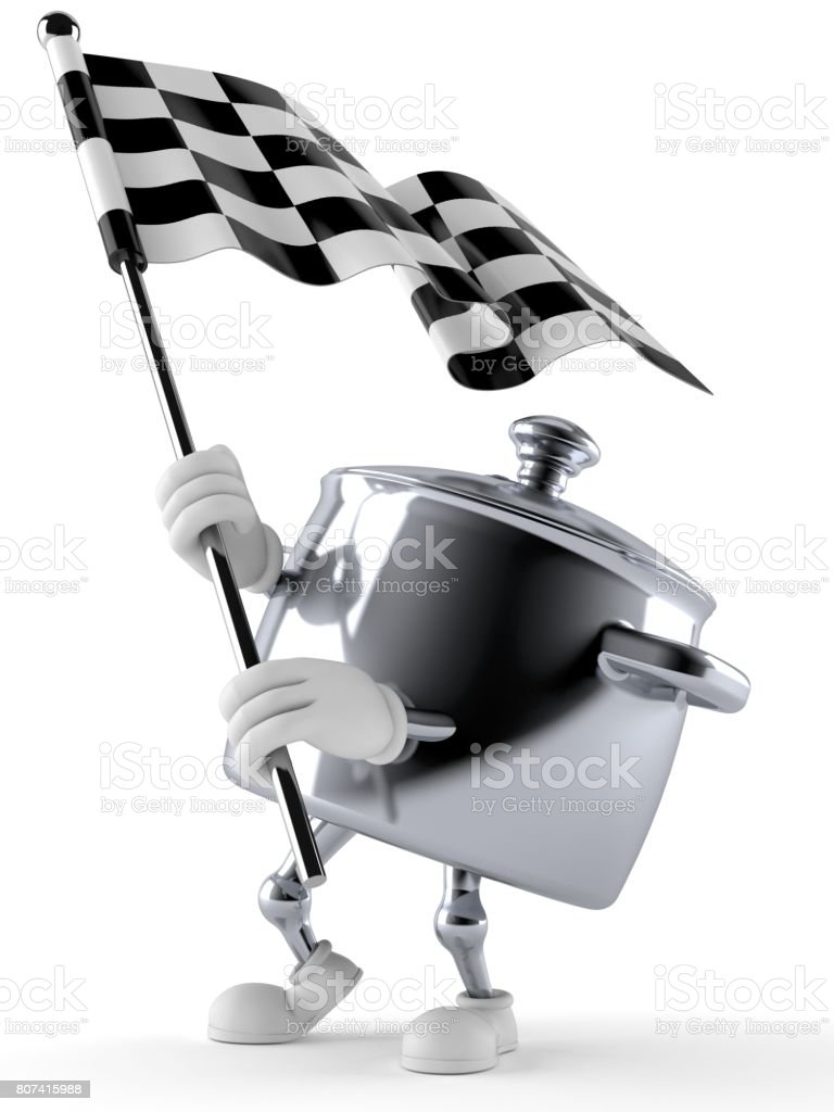 Kitchen pot character waving race flag stock photo