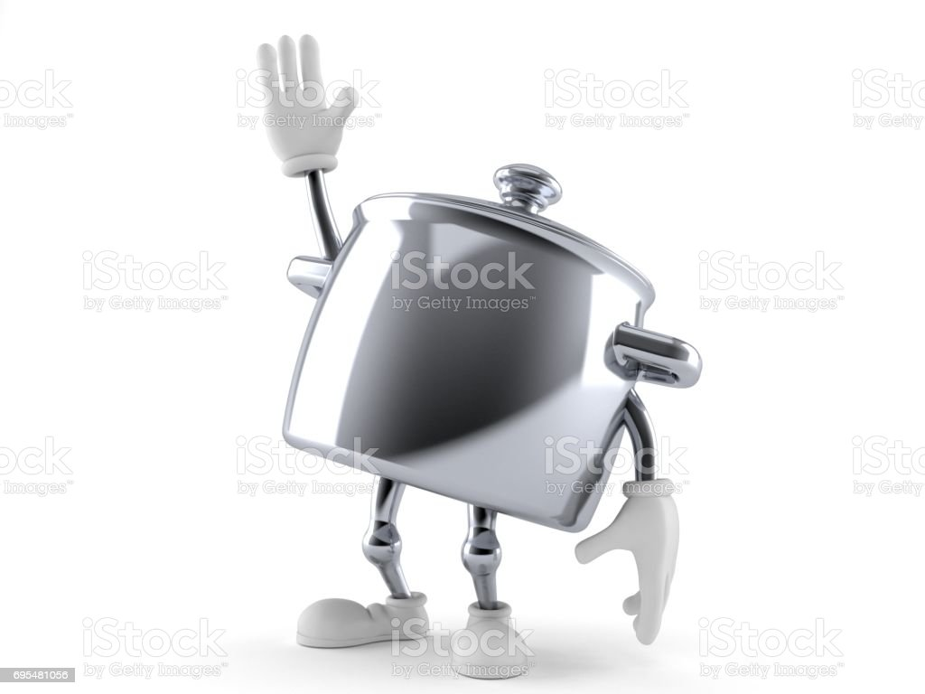 Kitchen pot character with hand up stock photo