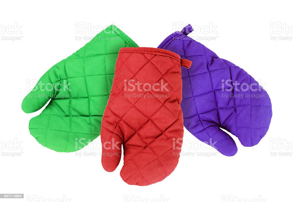 Kitchen potholder in the form of gloves isolated stock photo