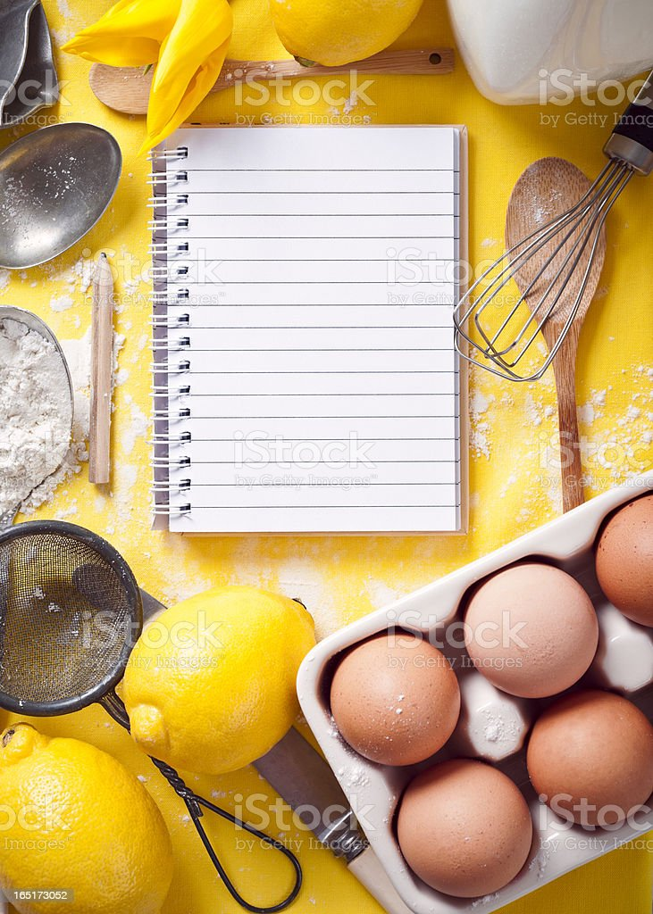 Kitchen recipe planning for pancakes? royalty-free stock photo