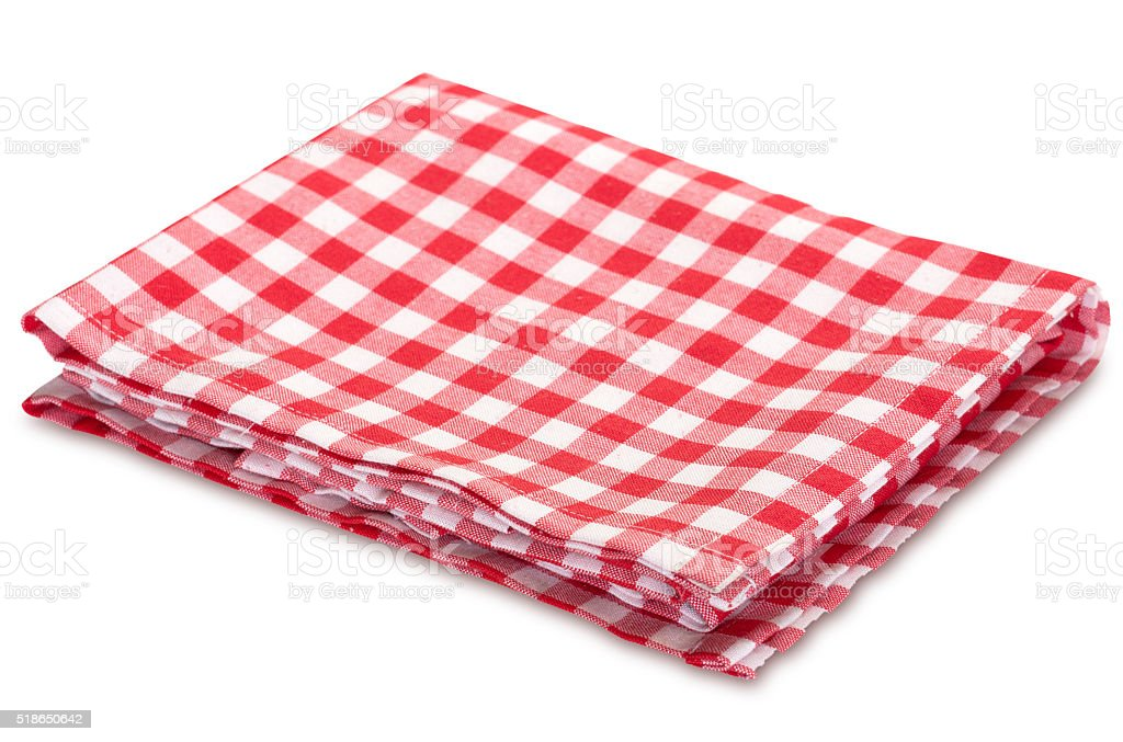 Kitchen red picnic horizontal clothes isolated on white. stock photo