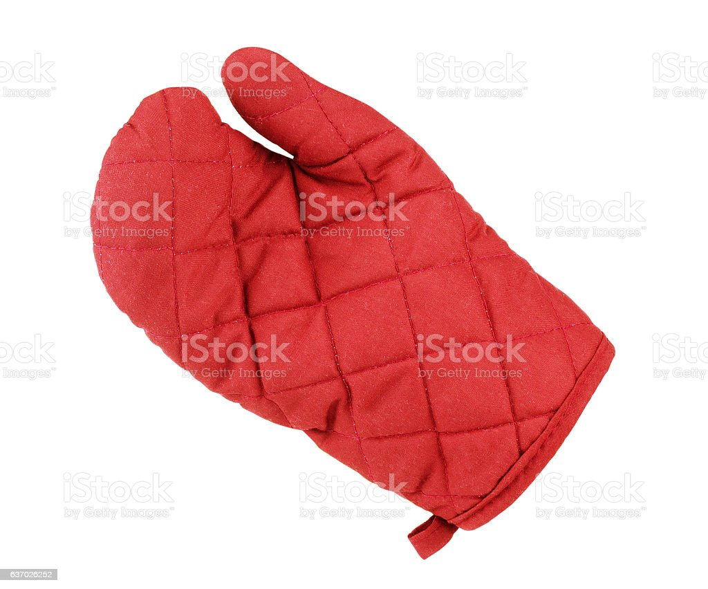 Kitchen red potholder in the form of gloves stock photo